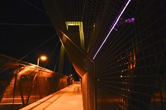 No Focal Point - Sometimes, an idea of something photographed is better than the actual shot created (Blue Rave) Tags: nightphotography bridge arizona phoenix architecture night fence nightimages angle angles overpass az nightshots pedestrianbridge destinationunknown pedestrianwalkway