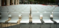 CHAIRS (september.) Tags: plaza nyc newyorkcity shadow summer white film 35mm chairs setup canonae1 lincolncenter fashionweek canonfd50mmf14 canonfd kodakportra400 damroschpark