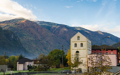 Grono, Switzerland (Aaron Busche) Tags: sunrise europe fallcolors swissmountains d7000 gronoswitzerland