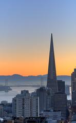 San Francisco sunrise (Cosmic Smudge) Tags: sanfrancisco california morning bridge sunrise dawn baybridge transamerica hdr mzuiko45mmf18 olympusomdem5
