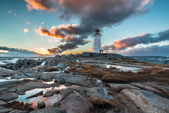 Braving the Elements (bluegreenorange) Tags: sunset lighthouse canada water clouds waves novascotia ns peggyscove lighthousetrail peggyscovelighthouse peggyspointlighthouse