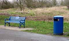 Blue bench and litter bin (karenblakeman) Tags: uk blue bench bin february caversham 2014 hillsmeadow cf14 challengefriday