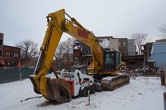 mama & her cub (KevinIrvineChi) Tags: winter urban snow chicago tractor cat cub snowy mama caterpillar chilly lincolnsquare digger snowcovered wrecking chicagoist northcenter