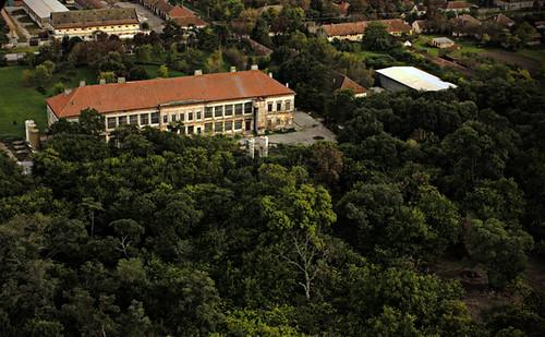 Dvorac u Novom Miloševu, pogled iz vazduha.