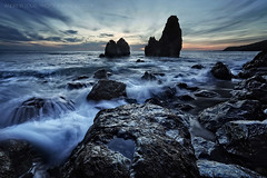 Ancient Aliens (Andrew Louie Photography) Tags: sf life california camera blue sunset sea seascape west bird beach canon landscape happy photography bay coast ancient san francisco rocks long exposure waves sfo saturday jazz aliens area rodeo lastdayofwinter doomandgloom noburn