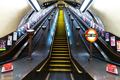 Way Out (Tedz Duran) Tags: tedzduran london underground tube station stairs escalator architecture england uk united kingdom eu europe night photography travel rural urban urbanscape travelling tlpicks red yellow