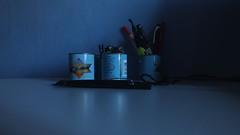 Still life..   Room in Luxembourg.. (jacekuba) Tags: still life night abstrakt muster textur indoor surreal kurve background cans pen pencil shadow wall color blue bleu design dose schreibwaren wand dizajn blatt kugelschreiber blau martwanatura ściana niebieski stilleben tekstura abstrakcja wnętrze biurko puszka innenraum dekoracja wyposażenie blat stół ołówek długopis