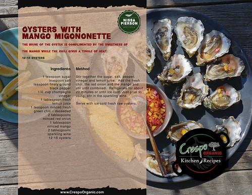 "Oysters with Mango Migonette • <a style=""font-size:0.8em;"" href=""http://www.flickr.com/photos/139081453@N03/32353301474/"" target=""_blank"">View on Flickr</a>"