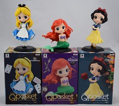 Q Posket Alice, Ariel and Snow White 5.5 Inch Vinyl Figures by Banpresto - On Top Of Boxes (drj1828) Tags: qposket banpresto alice aliceinwonderland vinyl figure 6inch 55inch 2016 ariel thelittlemermaid snowwhite snowwhiteandthesevendwarfs 2017 deboxed