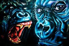 beasts (khrawlings) Tags: graffiti gloucester apes spray paint teeth mouth heads blue black