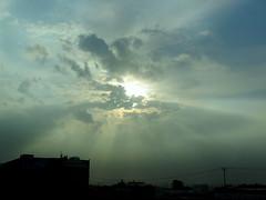 Behind The Clouds (Khaled M. K. HEGAZY) Tags: nikon coolpix p520 kingdomofsaudiarabia ksa nature outdoor closeup blue white black sun sky cloud silhouette building المملكةالعربيةالسعودية