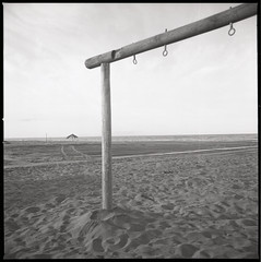 (Hang In There) (Robbie McIntosh) Tags: hasselblad hasselblad500cm carlzeissdistagon50mmf4ct 120 mediumformat 6x6 square negative film filmisnotdead moyenformat mittelformat medioformato pellicola selfdevelopment dyi homedevelopment bw blackandwhite monochrome fujineopanacros fuji neopan acros decay seaside newtopographic newtopography landscape shoreline sand studional posts watchtower castelvolturno lidorelax