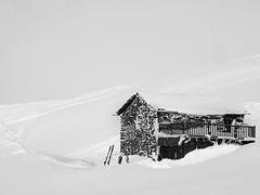 MountainShackInTheFog (Mr Green75) Tags: snow fog mono bw lesmenuires 3valleys sony rx100 mountain shack
