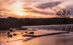 A Warm Winter Sunset (cwhitted) Tags: canon eos canoneos7dmarkii canonefs1855mmisstm longexposure waterfall dam bynum chathamcounty hawriver sunset