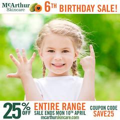 Take 25% OFF ALL McArthur Skincare for our 6th Birthday Celebration (mcarthurskincare) Tags: mcarthurskincare mcarthursale pawpaw papaya skincare onsale salenowon sale bargains