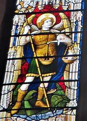 multitasking - St Andrews church Norwich (jmc4 - Church Explorer) Tags: norwich standrews stained glass window saint archangel michael weighing souls dragon devil church norfolk andrew