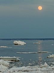 Icy Moon (clickclique) Tags: bayofchaleur water ice icefloe beach moon driftice sunset evening reflection light outdoors nature beresford newbrunswick