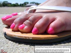 Tiny Hitchhiker (Red Neptune) Tags: giantess gts feet crush stomp sandals flipflops shrunkenman black ebony sm micro