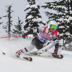 April 16th, 2017 - Ana Large of BC takes third place in the U14 McKenzie Investments Whistler Cup Womens GS Race - Photo By Rob Perry - coastphoto.com