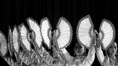 Hand fans (STEHOUWER AND RECIO) Tags: philippines pilipinas people performance girls ladies girl lady beautiful dresses culture light portrait cultural beauty smile villaescudero traditional costumes indoor travel dress moment filipijnen bw blackandwhite fans handfans chinesefans fan waaier waaiers monochrome mono hand hands dames vrouwen kostuums mooi optreden gezicht face expressions expression uitdrukking eyes makeup filipina contrasts contrasten timing earrings oorbellen ganda babae maganda show luzon calabarzon resort