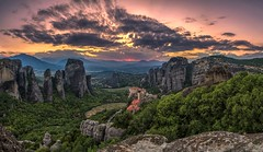 Meteora sunset 2 (xelmark) Tags: landscape sunlight sunset greece meteora monastery resting peacefull colours warm 2015 nikon nikkor1685vr d7000 summer nature zalazak sumrak meteori grcka beautiful outdoor hill mountain peak ridge mountainside rock formation canyon