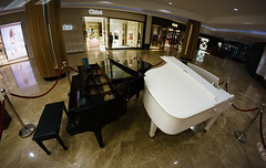 B&W (Мaistora) Tags: piano grand baby concert lobby mall luxury decor decoration attraction style elegance class classic grandpiano duo two pair black white contrast symbolic metaphor ebony ivory race harmony together song interior design retail fashion wideangle ultrawide fisheye samyang 8mm sony apsc mirrorless nex lightroom