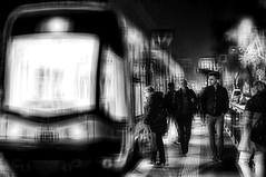 shadows in the street.... (eggii) Tags: street people stop night project monochrome mono bw nikon d90 nikkor city