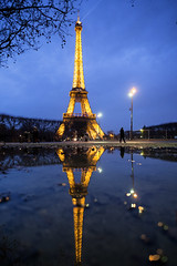 Eiffel Tower reflected (BrianEden) Tags: champdemars france xpro1 paris eiffeltower fuji toureiffel travelphotography travel destination fujifilm 7emearrondissement îledefrance fr