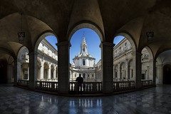 L'Architetto (Roberto -) Tags: sant ivo sapienza architettura architecture rome roma nikon d3200 tokina 1120 chiostro cloister merge panoramic panoramica