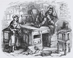 """Little Nell stood timidly as Mr. Quilp read the letter. """"The Old Curiosity Shop"""" by Charles Dickens. London: Chapman and Hall, 1841. 1st ed. (lhboudreau) Tags: book books hardcover hardcovers hardcoverbook hardcoverbooks classicbook classicbooks classictale classicstory classicnovel novel story tale dickens charlesdickens 1841 firstedition chapmanhall chapmanandhall oldcuriosityshop theoldcuriosityshop curiosityshop nelltrent nelly nell littlenell littlenelly bookart antiquebook antiquarianbook illustration art etching engraving georgecattermole hablotkbrowne hkbrowne quilp mrquilp letter readingletter desk tophat bonnet"""