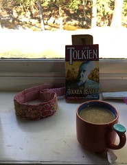 Tolkien and Tea (SplashH2O) Tags: tolkien tea trees tree window book jrrtolkien author reflection light sunlight glass river water view