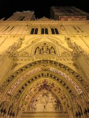 Zagreb Cathedral, portal and facade detail at night, Kaptol, Zagreb, Croatia (Paul McClure DC) Tags: zagreb croatia hrvatska balkans feb2017 sculpture historic architecture cathedral