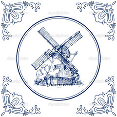 Dutch Delft blue tile with a mill (貴蘭李) Tags: antique art background blue card cartoon clipart collection country culture curve decoration decorative delft delftware design dutch element floral flower frame greeting handdrawn holland illustration landscape line netherlands old oldfashioned ornament ornate pottery round rural rustic square surface tile traditional typical vector vintage watermill white will