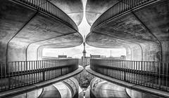 Caught in the Middle (mcalma68) Tags: architecture monochrome symmetry amsterdam blackwhite rai parking