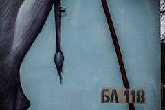 Block 118 (Melissa Maples) Tags: софия sofia българия bulgaria europe nikon d3300 ニコン 尼康 nikkor afs 18200mm f3556g 18200mmf3556g vr winter mural graffiti streetart art bozko urbancreatures tail blue 118 number bulgarian text