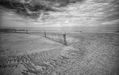 End of the Season (mswan777) Tags: sand wind pattern texture dune fence cloud sky warren dunes bridgman michigan lake nikon d5100 sigma 1020mm seascape landscape shore ansel monochrome black white outdoor nature scenic