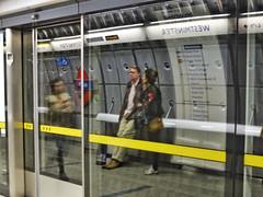 Floating Voters (Douguerreotype) Tags: uk gb britain british england london city urban people reflection underground tube metro subway platform sign tunnel transport travel