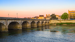 Chatellerault, France (DouxVide) Tags: france gx8 mft m43 architecture sunset building bridge tower old history henry iv henri water reflection river stream vienne chatellerault fiume rivière city cityscape