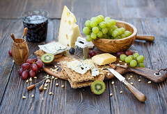 Explored ~ Crackers with cheese and fruits (Julicious) Tags: old food glass fruit cheese canon vintage table yummy wine sweet board rustic knife bowl fresh homemade slice cracker nut piece kiwi grater grape foodphoto foodphotography foodstyle canon5dmarkiii