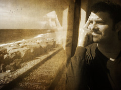 Memories of me (selfportrait) (davidpuig | photography) Tags: trip travel viaje selfportrait texture textura sepia transport autoretrato transporte 2013 photoshopcreativo bestportraitsaoi