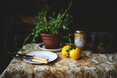 breakfast with lemons (carroll.mary (so behind I'll never catch up)) Tags: stilllife yellow table mint lemons antiques foodphotography
