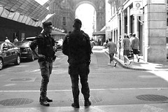 Guards (MaxPirsky) Tags: street people italy white black milan film 35mm canon eos cops police 50 galleria officers