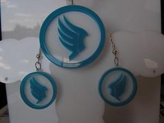 Mass Effect Paragon pendant and earings (krzysztoftomczak1) Tags: necklace acrylic jewelery mass effect spectre renegade shepard alliance paragon bioware garrus
