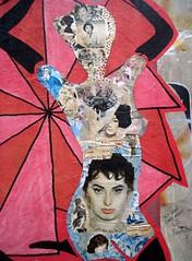 Red paste-up by FKDL - Close up (Sokleine) Tags: street urban streetart paris france pasteup collage female vintage glamour women colours urbanart rue marais artderue 75003 fkdl franckduval