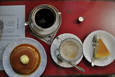 Coffee and (pan)cake in Kyoto (mari-chan.) Tags: coffee caf pancakes milk kyoto butter syrup filtercoffee chiffoncake japanesecheesecake