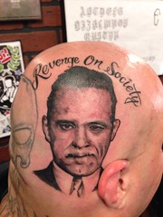 john dillinger blood for blood tattoo by wes Fortier - Burning Hearts Tattoo Co. 1430 Meriden Rd.  Waterbury, CT