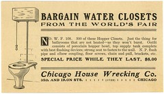 Bargain Water Closets from the St. Louis World's Fair (1904):  Hopper Closets (Alan Mays) Tags: ephemera slips printedslips handbills leaflets notices fliers flyers circulars advertising advertisements ads paper printed toilets waterclosets frontwashoutclosets hopperclosets fixtures bowls flushingdevices bargains chicagohousewreckingcompany chicagohousewrecking wreckingcompanies chicago il ill illinois stlouisworldsfair louisianapurchaseexposition worldsfairs fairs expositions illustrations stlouis mo missouri 1904 1900s antique old vintage typefaces type typography fonts