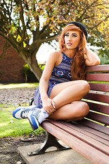 Model: Ruthanne (MikeBMikeNotB) Tags: light red woman colour tree mike girl beautiful beauty hat lady female canon bench 50mm ginger model day dress natural head mk2 5d bennett mkii ruthanne hartlepool