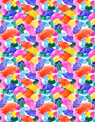Solo Swoop Pattern (leannaperry) Tags: color art illustration fun design chalk mixed saturated media paint artist pattern play graphic bright vibrant patterns shapes minneapolis jazz surface solo pastels forms illustrator form leanna gouache shape playful perry spikes licensing patterning