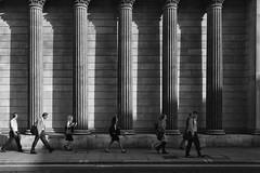 Follow Me (Luminor) Tags: life leica city morning england people man building london me architecture work 35mm walking blackwhite shadows candid cityscapes bank rangefinder follow 500views cityoflondon m9 shawdows boe perfectlight mphotography
